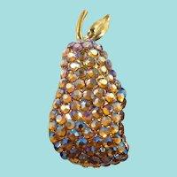 Suzanne Bjontegard Dimensional Rhinestone Pear Mint in Box  Paper Hang Tag