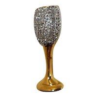 Dimensional Rhinestone Champagne Glass Goldtone Brooch