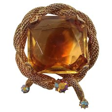 Citrine Givre Glass Square Shaped Stone Goldtone Mesh Brooch