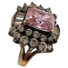 Jolie Gabor Pink Russian Cubic Zirconium Sterling Statement Ring Size 6