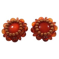 BeauJewels Orange Lucite Beaded Imitation Pearls Clip On Earrings