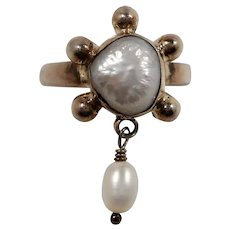 Dimensional Sterling Silver Genuine Pearl Cabochon Pearl Dangle Ring Size 6