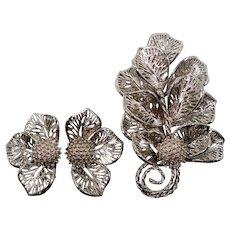 Judy Lee Bold Dimensional Silvertone Leaves Brooch Clip On Earring Set
