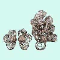 Judy Lee Large Bold Dimensional Silvertone Leaves Brooch Clip On Earring Set
