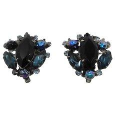 Large Judy Lee Blue Rhinestones Carnival Glass Clip On Earrings