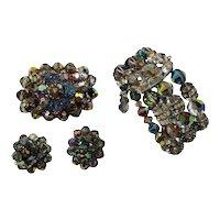 Laguna Aurora Borealis Crystal Beaded Rhinestone Brooch Earring Bracelet Set