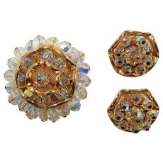 Dimensional Scalloped Layered Goldtone Metal Faceted Crystal Beaded Brooch Clip On Earring Set