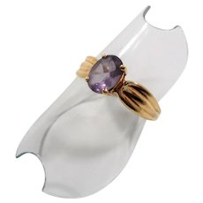 10k Yellow Gold Genuine Oval Amethyst Ring Size 7