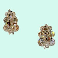 Multi-Faceted Clear Aurora Crystal Beaded Goldtone Clip On Earrings
