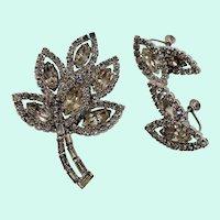 Dimensional Layered Clear Rhinestones Leaf Brooch Adjustable Screw On Earring Set