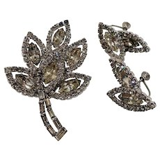 Dimensional Layered Clear Rhinestones Leaf Brooch Adjustable Screw On Earring Set
