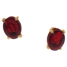 Large Dimensional Oval Red Faceted Glass Open Back Clip On Earrings