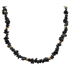 Genuine Hematite Nugget Beaded Necklace Goldtone Beaded Accents