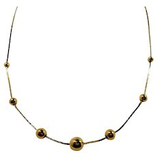 Dainty Shiny Goldtone Round Beaded Metal Necklace