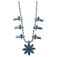 HMS Madeira Creations Silvertone Blue Cabs Squash Blossom Style Necklace