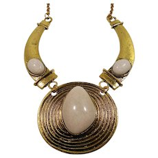 Bold Chunky Large Cabs Textured Goldtone Metal  Necklace
