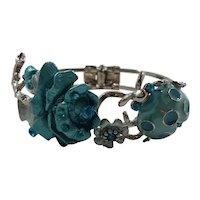 Dimensional Rhinestone Enameled Ladybug Flower Bracelet