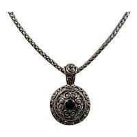 Vintage Dimensional Ornate Silvertone Metal Pendant Necklace