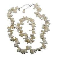 Thick White Stone Irregular Nuggets Beaded Necklace & Bracelet Set