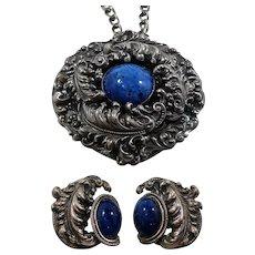 Eugene Bertolli Napier Silvertone Blue Art Glass Statement Necklace Earring Set