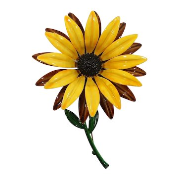 Huge Dimensional Layered Enameled Yellow Sunflower Brooch