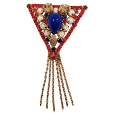 Confirmed  D & E Patriotic Dimensional Triangular Articulated Dangle Brooch
