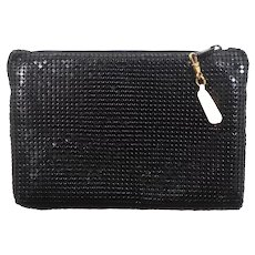 Black Metal Mesh Zippered Evening Bag