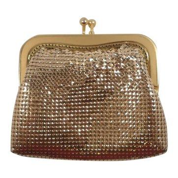 Glomesh Goldtone Metal Large Evening Bag Change Purse