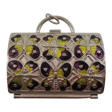 Judith Leiber Neiman Marcus Enameled Butterflies Metal Coin Purse