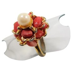 Genuine Pink Stones Pearl Unsigned Swoboda Goldtone Metal Ring