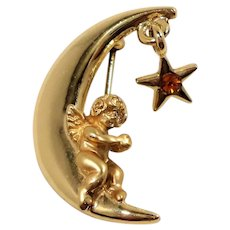 Razza Cherub Crescent Moon Dangle Birthstone Rhinestone Star Pin