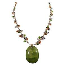 Monet Imitation Pearls Pastel Bauble Beads Pendant Drop Necklace