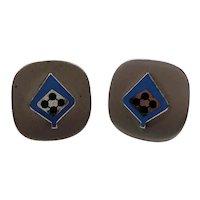 Square Shaped Silvertone Metal Blue Enameled Spade Design Cufflinks