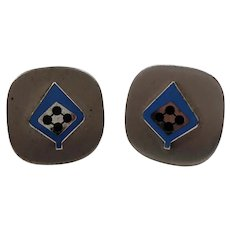 Square Shaped Silvertone Metal Blue Enameled Spade Design Cufflinks