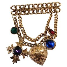 Juliana Dangle Layered Goldtone Chains  Bauble Charms Brooch