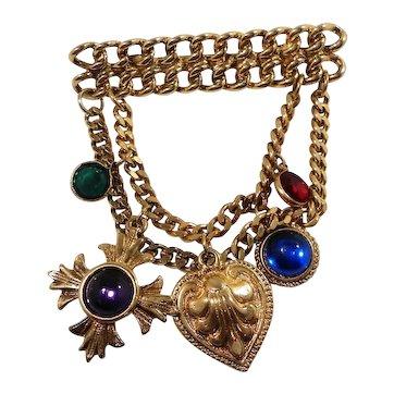 Juliana Dangle Layered Goldtone Chains  Bauble Charms Brooch