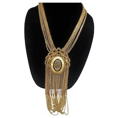 Monet Goldtone Metal Dangle Statement Runway Necklace
