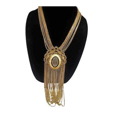 Monet Goldtone Metal Dangle Statement Runway Necklace