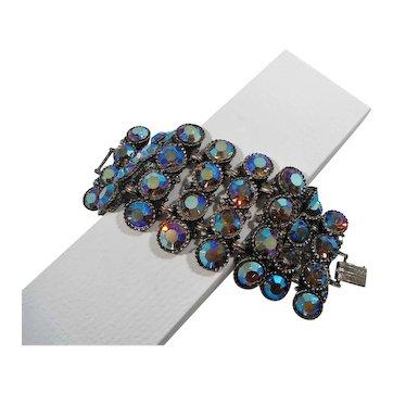 Massive Wide Chunky Blue Aurora Rhinestone Bracelet