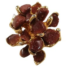 Swoboda Dimensional Genuine Goldstone Nuggets Adjustable Ring