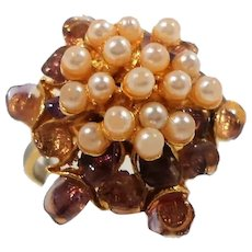 Swoboda Dimensional Genuine Pearls Stone Nuggets Ring
