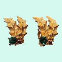 Textured Goldtone Holly Leaves Rhinestone Clip On Earrings
