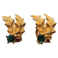 Textured Goldtone Holly Leaves Rhinestone Clip On Earrings