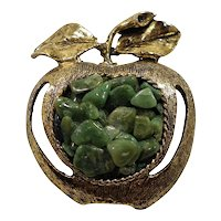Green Genuine Stone Nuggets Apple Brooch