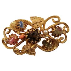 Scalloped Textured Dimensional Floral Genuine Stones Brooch
