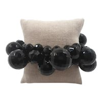 Fun Black Faceted Lucite Beaded Cha Cha Expansion Bracelet