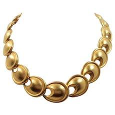 Oval Shaped Goldtone Metal Links Choker Necklace