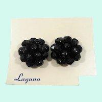 Vintage Laguna Black Glass Beaded Clip On Earrings  NOS  MOC