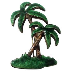 Vintage Green Brown Enameled Palm Trees Older C Clasp Pin