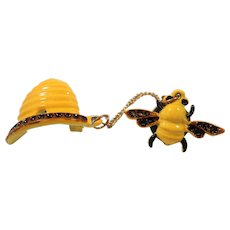 Yellow Enameled  Honey Bee Honeycomb Chatelaine Scatter Pins
